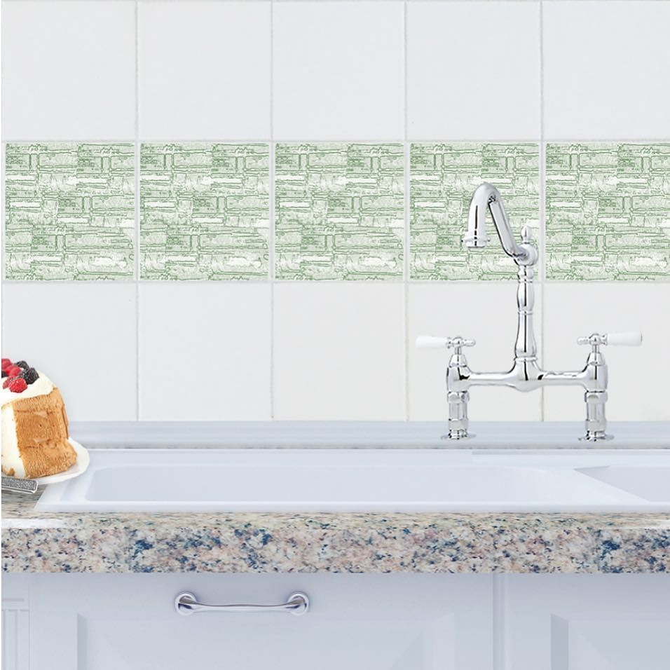 Roman Walls tile tattoo in Sage adds a modern touch to any kitchen ...