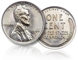 most valuable Rare American u s  Coins | 1944 Steel Wheat