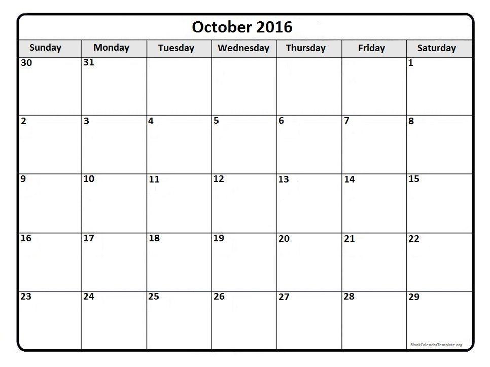 October 2016 Free Printable Calendar | 2017 Printable Calendars