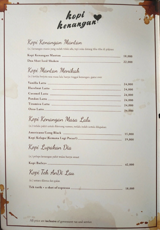 Kopi Kenangan Menu Menu Untuk Kopi Kenangan Karet Jakarta Zomato Indonesia Menu Kopi Personalized Items