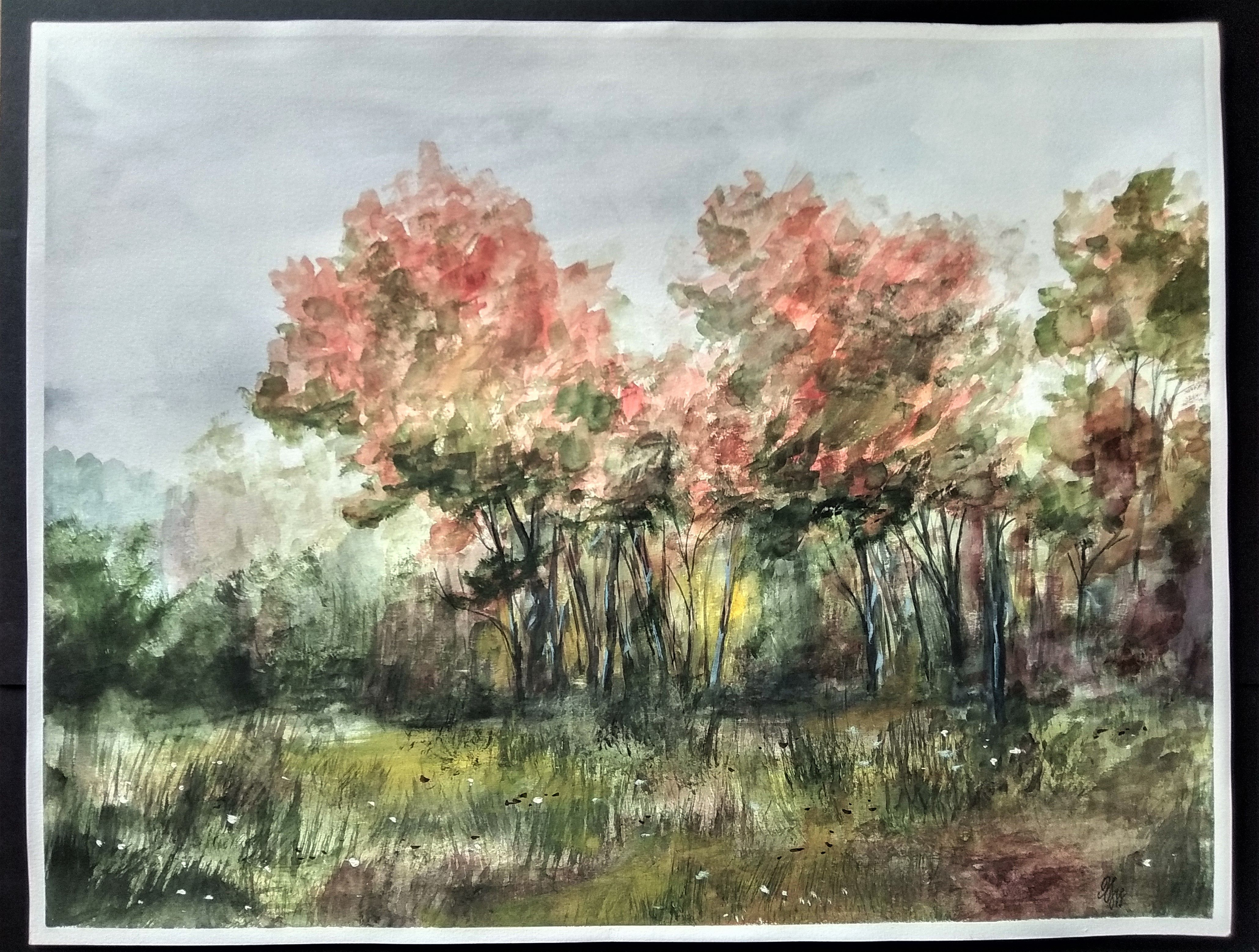 Large Nature Watercolor Painting Nature Inspired Artwork Large