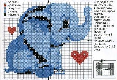 animaux éléphant amoureux (1) - toutes-les-grilles.com grilles gratuites point de croix crochet ...