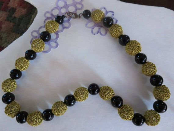 Crocheted Gold end Black Necklace by uniquestitchesdetroit on Etsy,