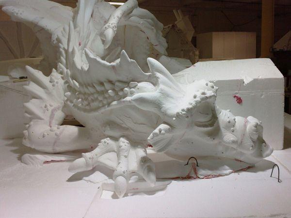 Polystyrene dragon store display concrete animals