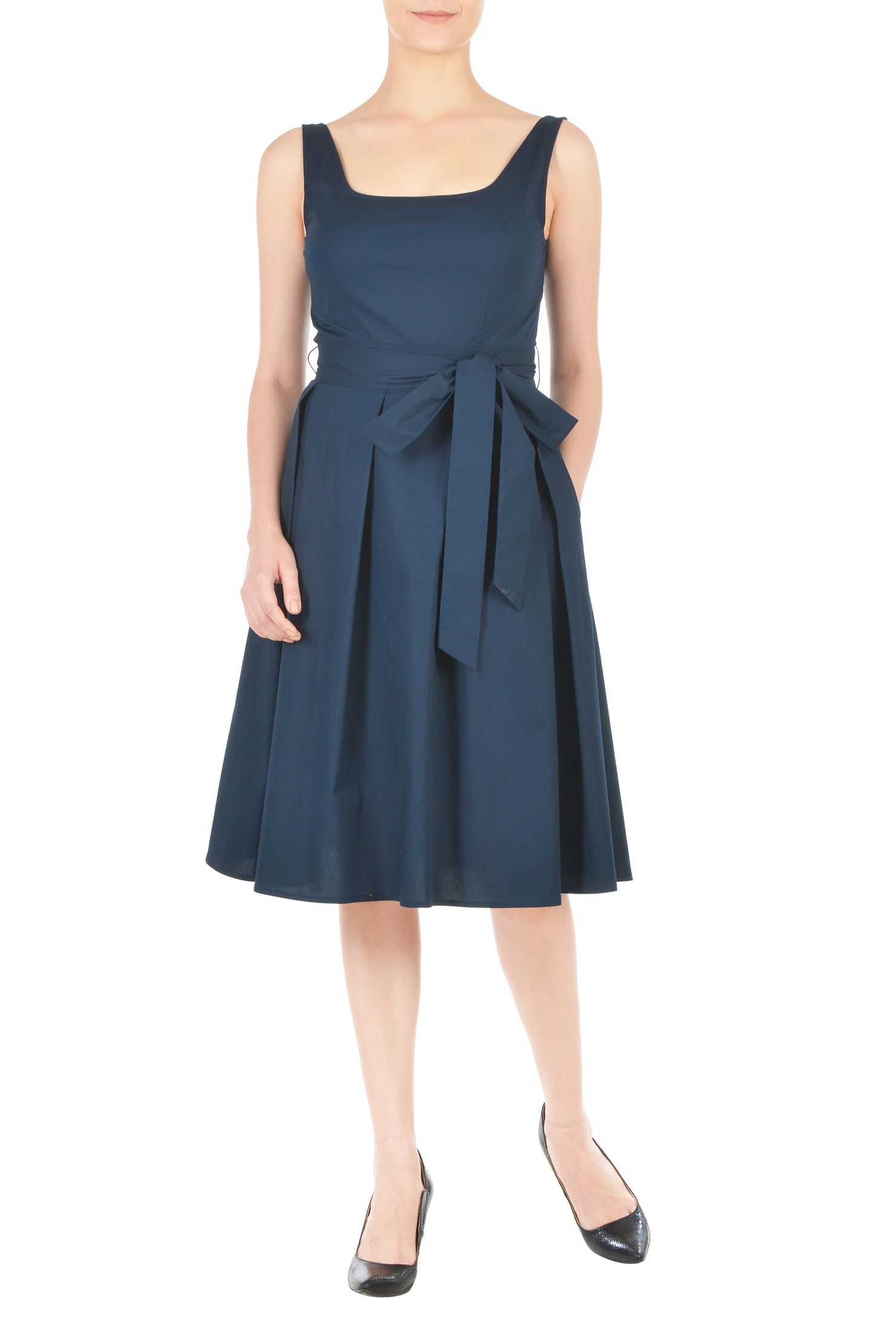 25382fc5ead2 Our stretch cotton poplin dress is cinched in with a sash tie belt at the  banded