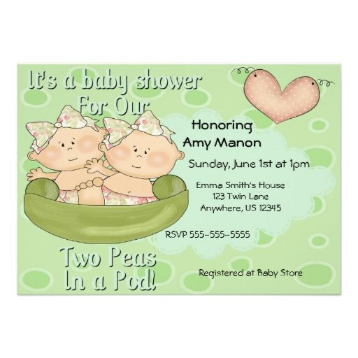 Twin Girls Two Peas in Pod Baby Shower Invitation