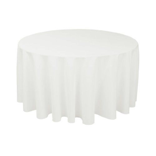 120 in. Round Polyester Tablecloth White by Linen Tablecloth, $14.99 http://www.amazon.com in lot's of colors!!
