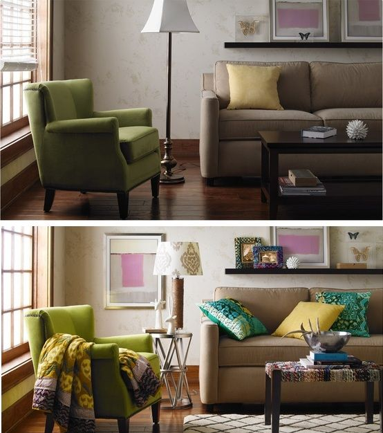 Living Room Makeover Using Warm Textures And Cool Metallics Beforeandafter Home Pinterest