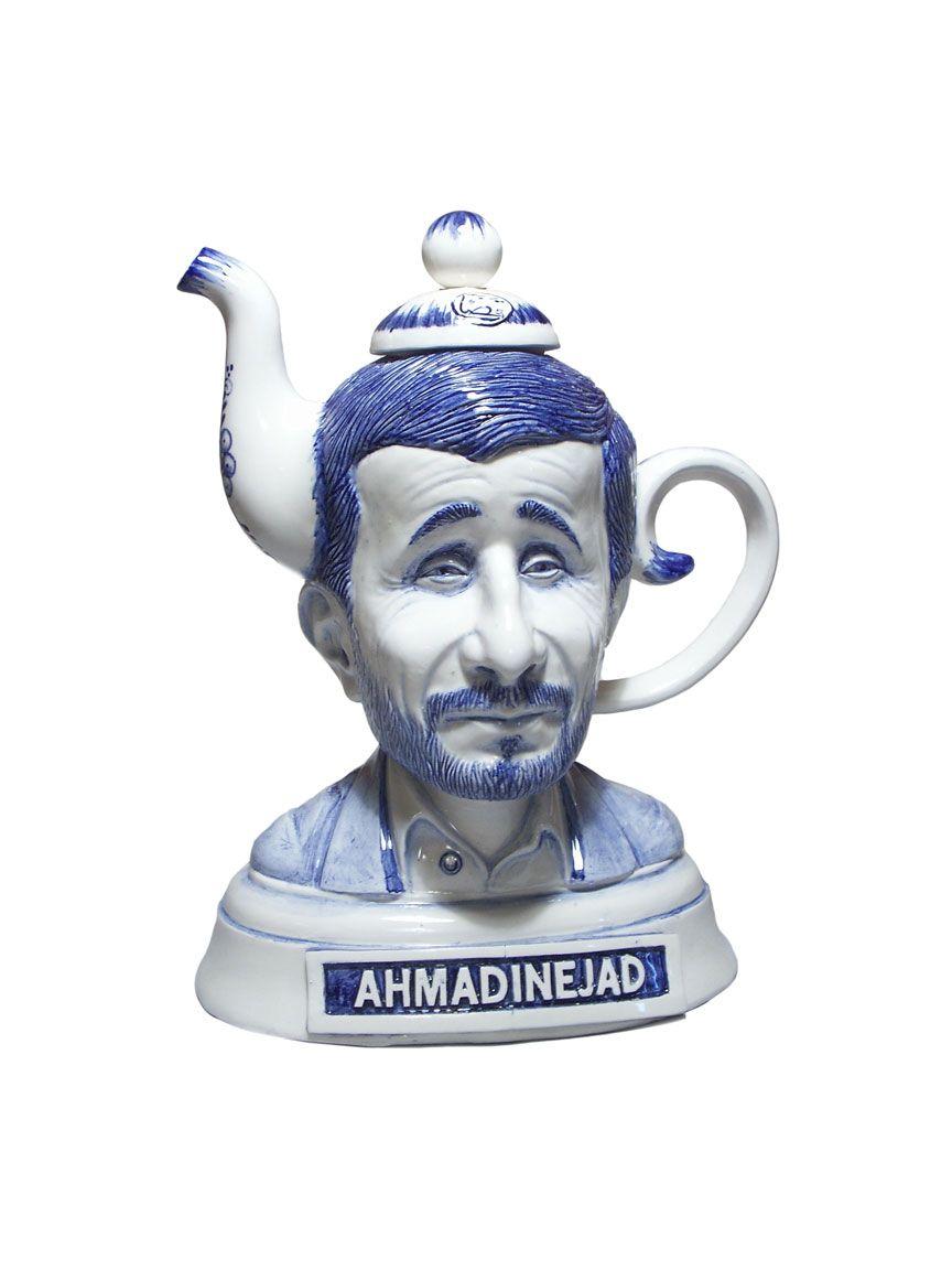 """COLLAB W/ CHARLES KRAFFT """"Ahmadinejad Tea Pot"""" 14″ tall ceramic ..."""