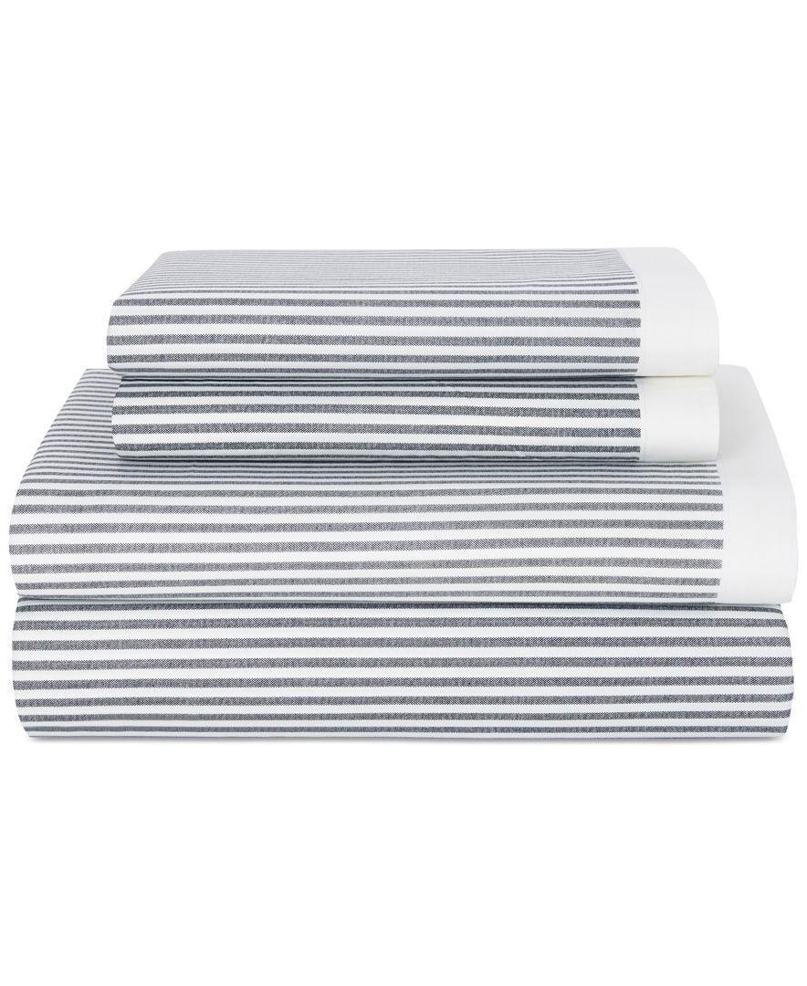 Tommy Hilfiger Chambray Dot Sheet Set King White//Blue