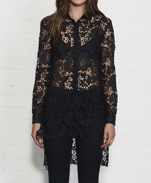 TEEN SPIRIT LACE SHIRT WITH STEPPED HEMCOLOUR: BLACK