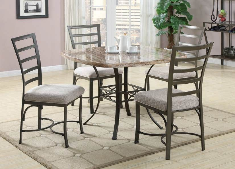 Val White Faux Marble 5Pc Dining Set (70057Sqwh)