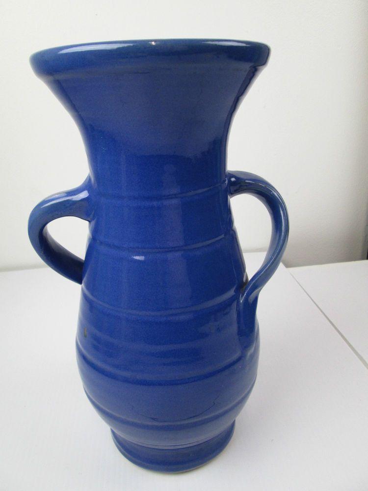 Vintage Bauer Matt Carlton Blue Twist Handle Vase California Art