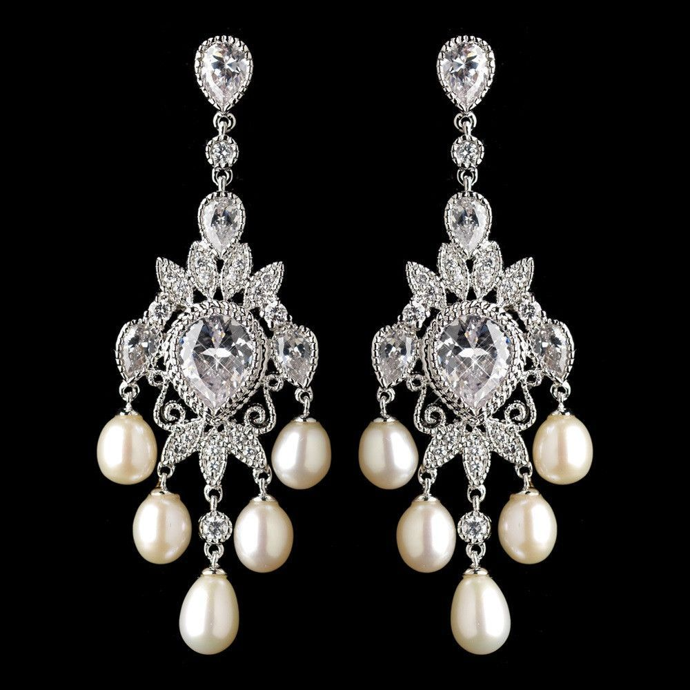 Rhodium cz crystal freshwater pearl chandelier earrings 4703 rhodium cz crystal freshwater pearl chandelier earrings 4703 arubaitofo Image collections