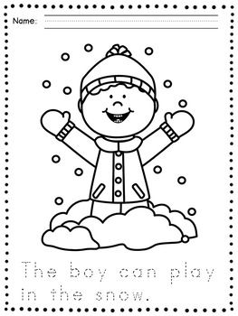 Here are some simple coloring pages with a winter theme
