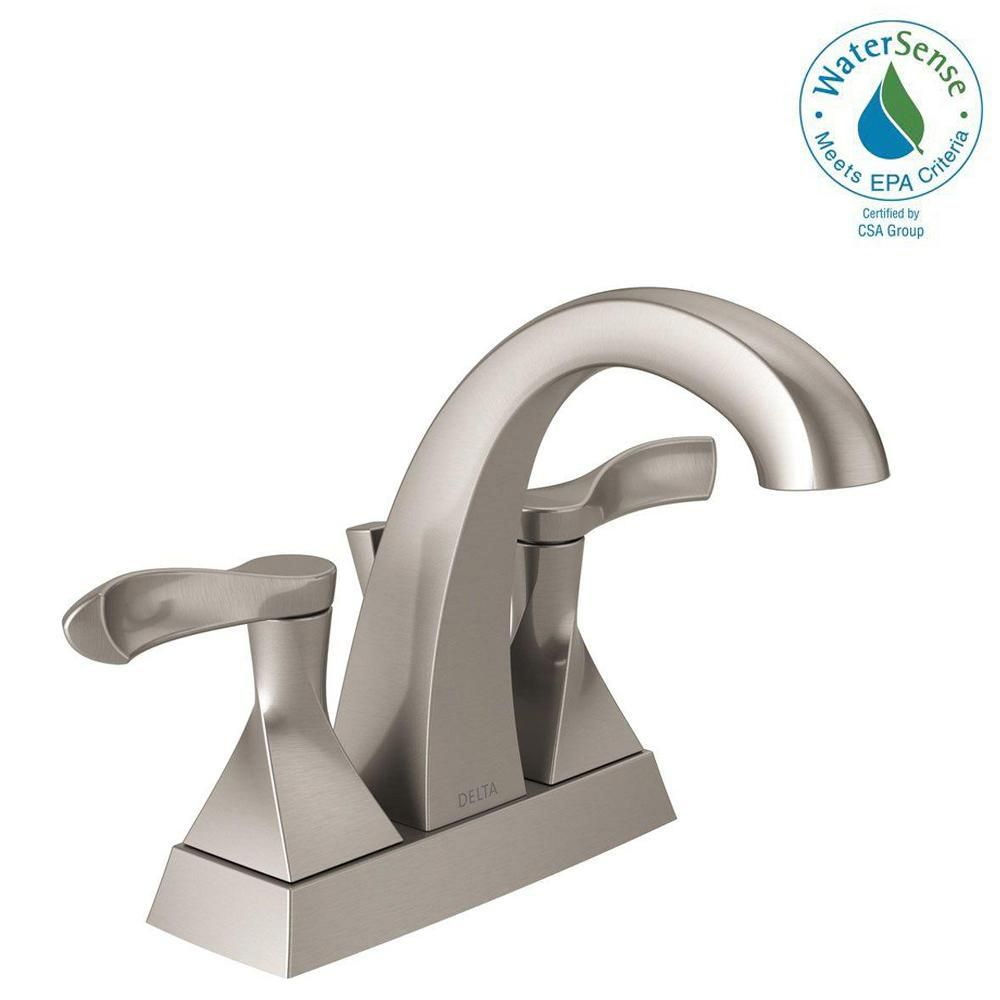 Delta Everly 4 In Centerset 2 Handle Bathroom Faucet In Spotshield Brushed Nickel 25741lf Sp The Home Depot Bathroom Faucets Faucet Bathroom Sink Faucets [ 1000 x 1000 Pixel ]