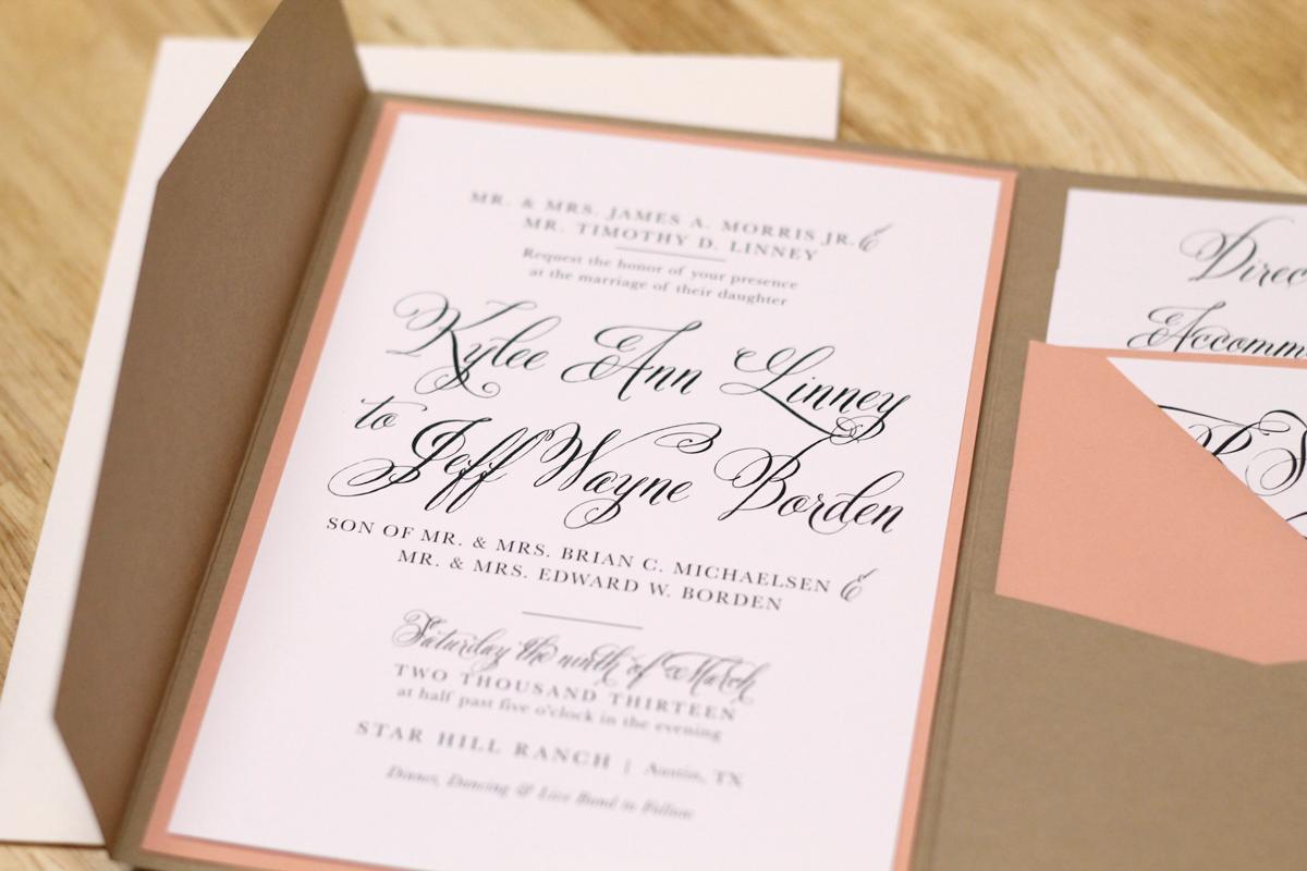 kxo design rustic peach wedding invitation with kraft pocketfold and custom map - Peach Wedding Invitations