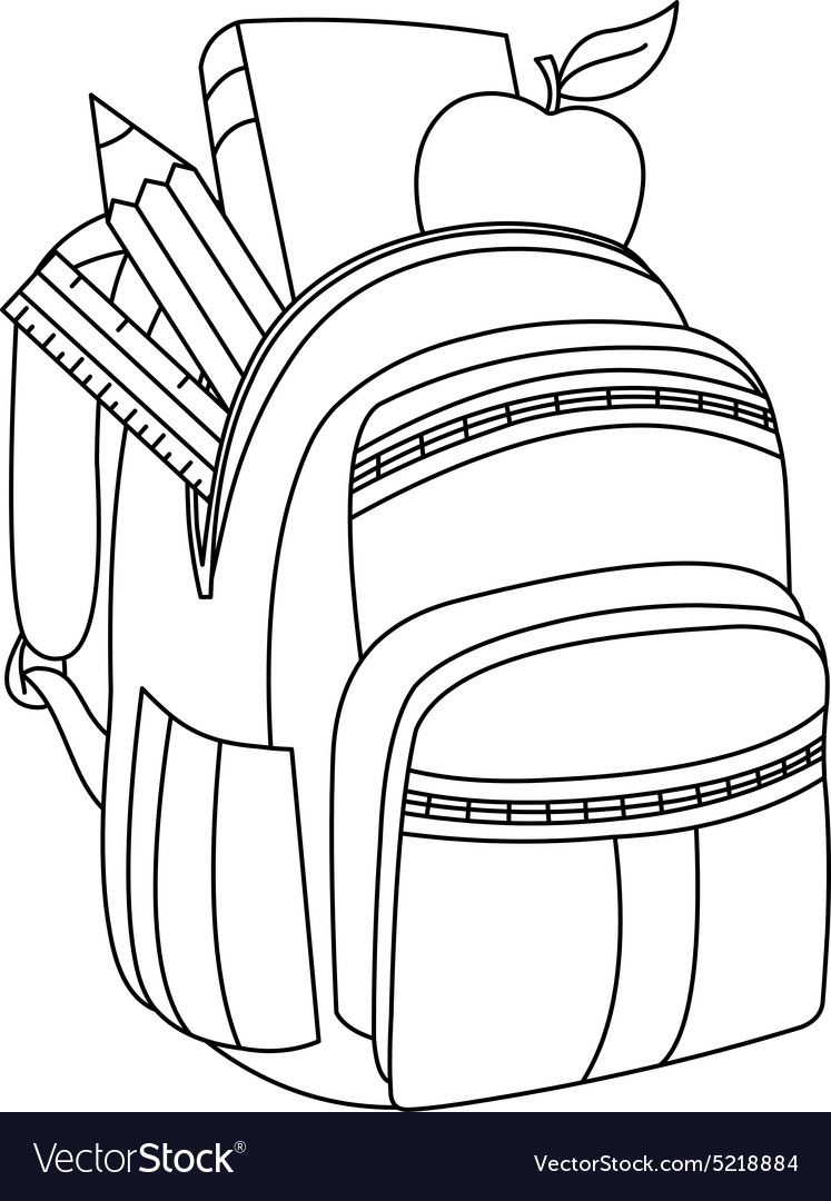 Outlined School Backpack Vector Illustration Coloring Page Download A Free Preview Or High School Coloring Pages Free Printable Coloring Pages Coloring Pages