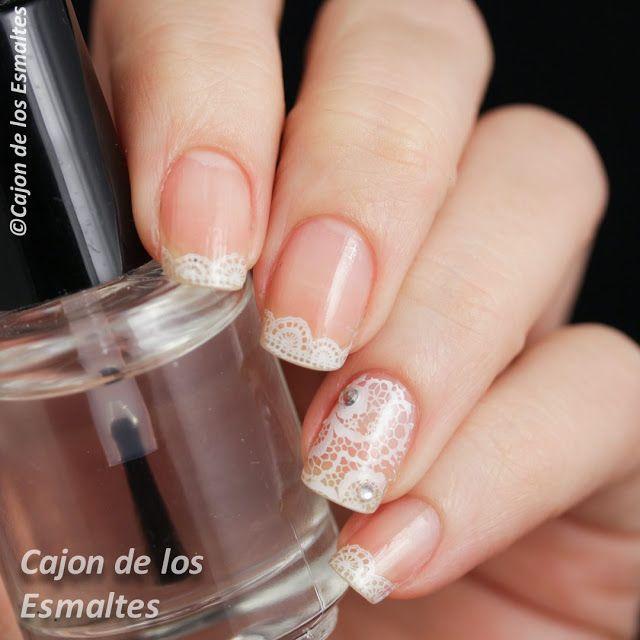 Unas Decoradas Para Novias Francesita Y Encaje Nail Art Nails