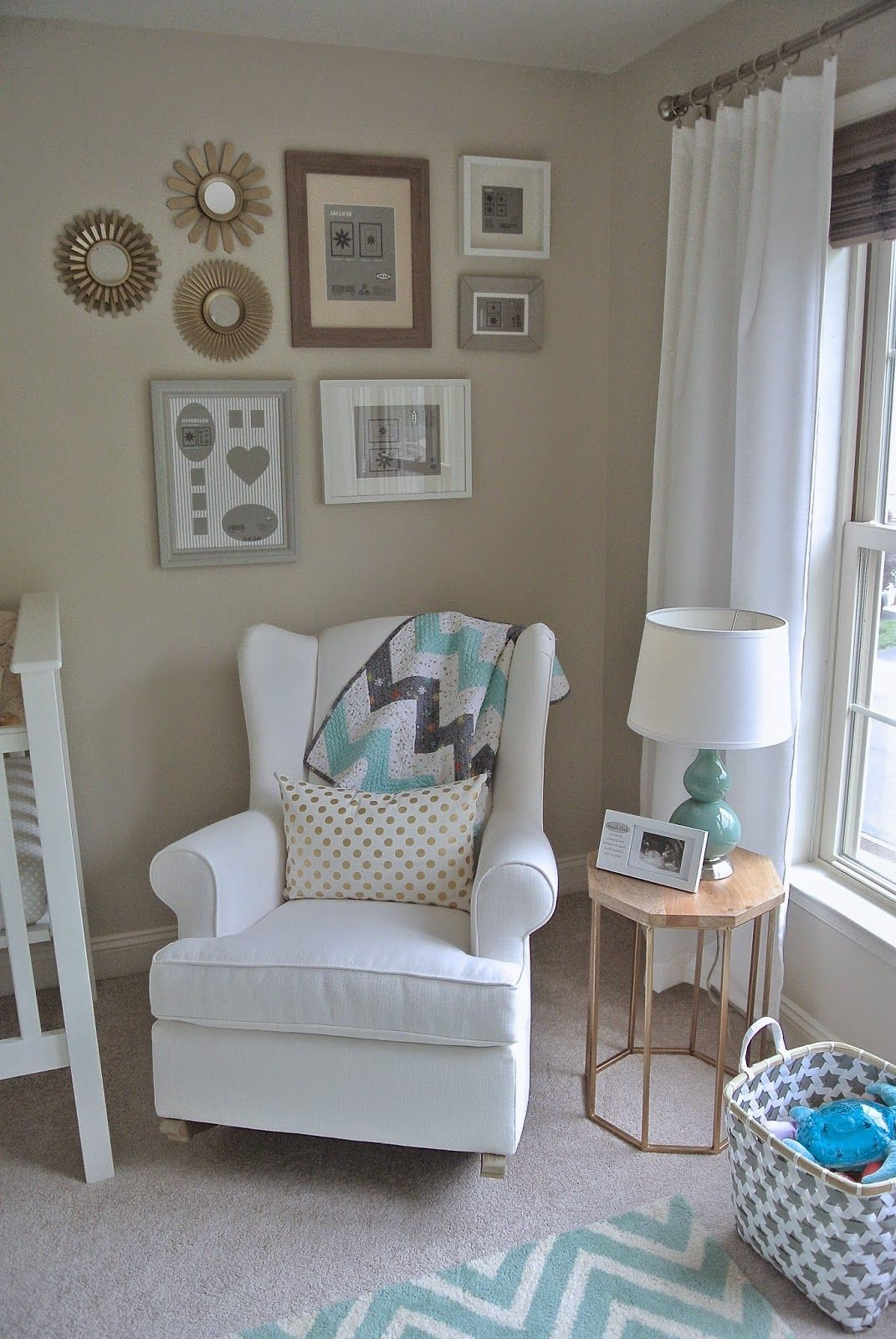 Olive Lane Gender Neutral Nursery Mint Gold And White