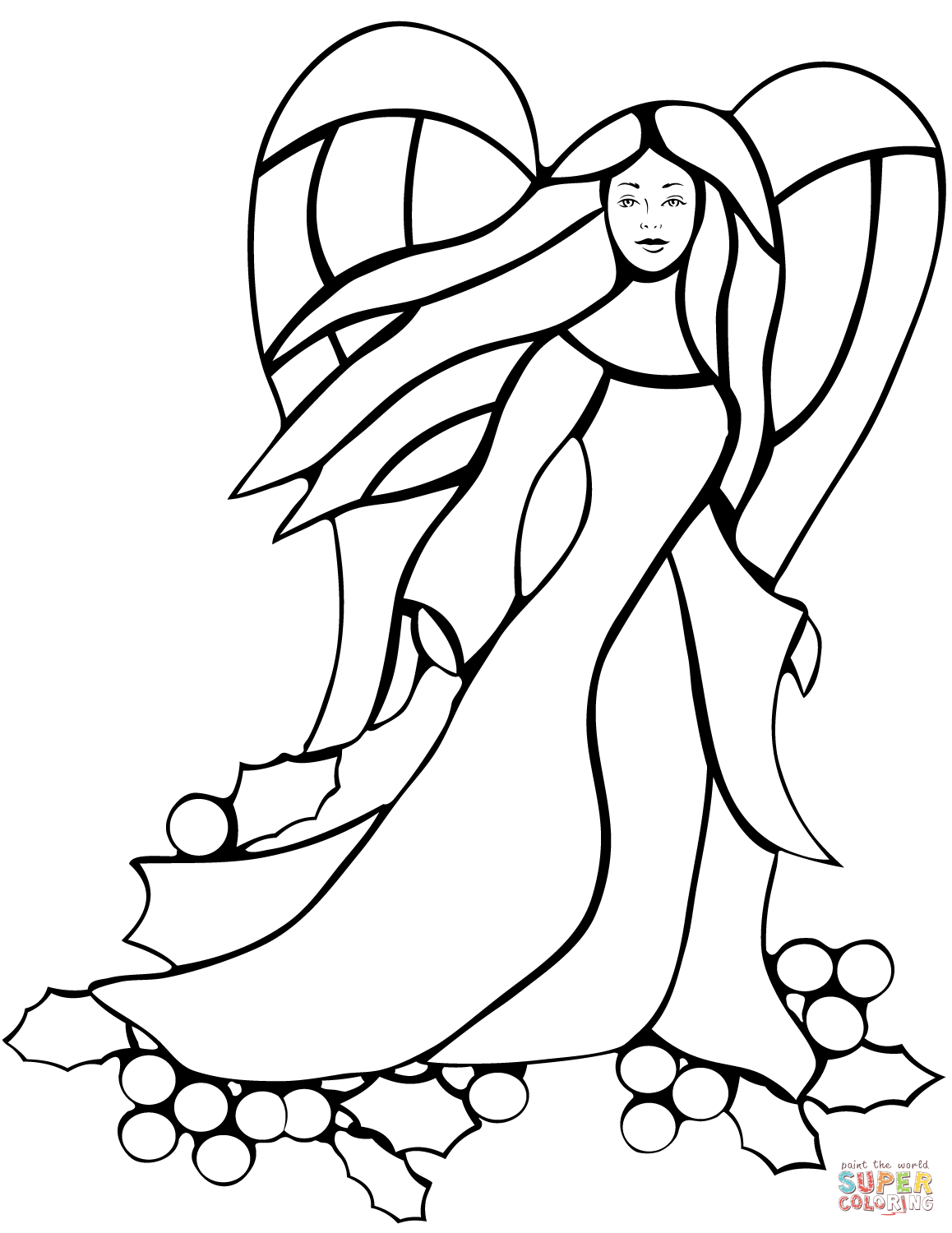angel stained glass coloring page | free printable