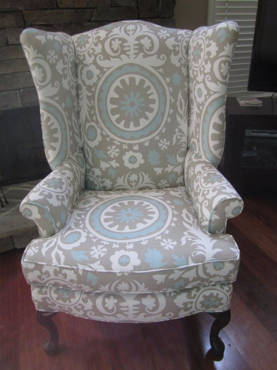 Reupholstered wing chair from Etsy shop Urbanmotifs