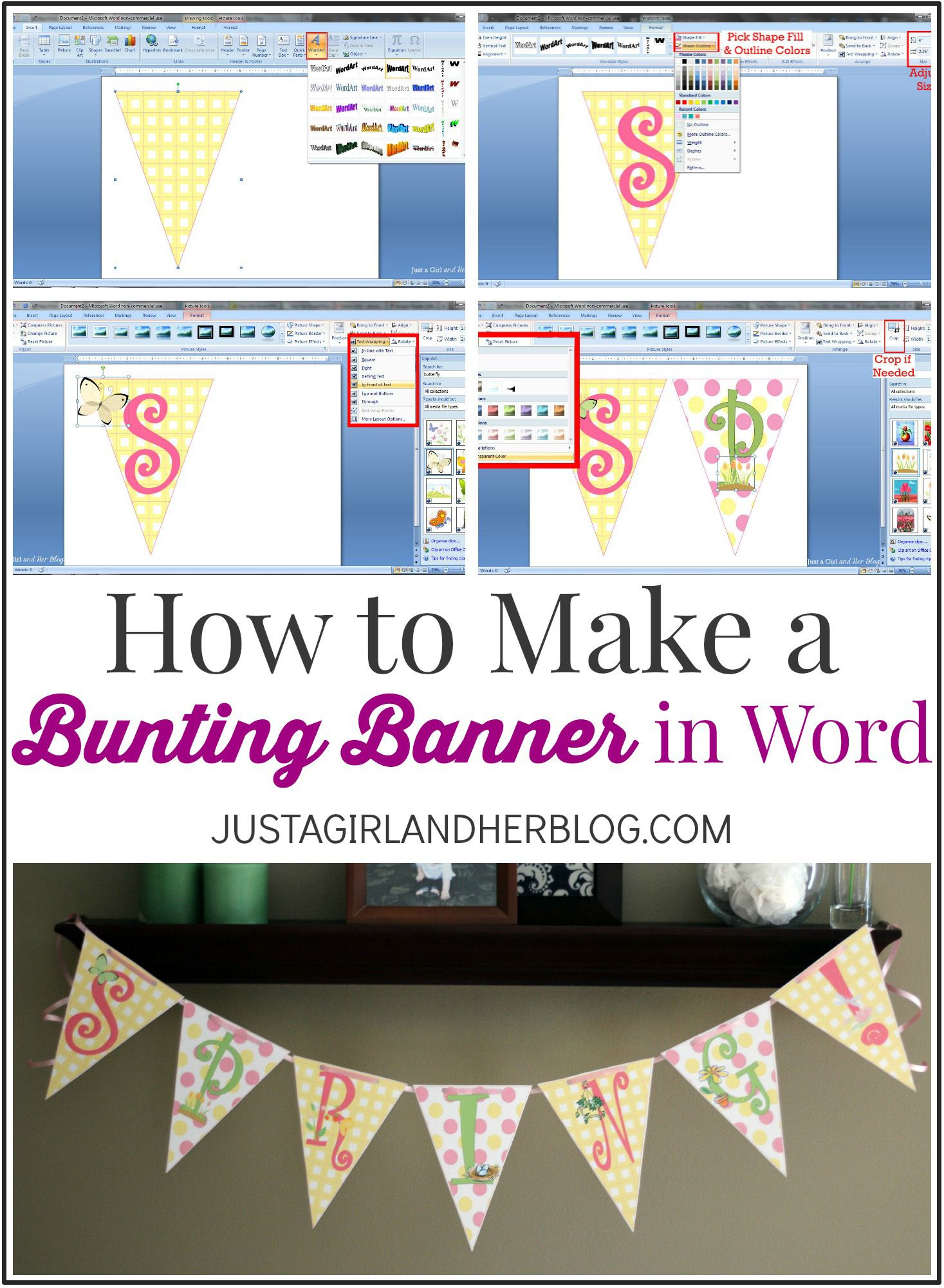 photograph regarding Justagirlandherblog titled How in direction of Crank out a Bunting Banner inside of Term with Clip Artwork Suggestions and