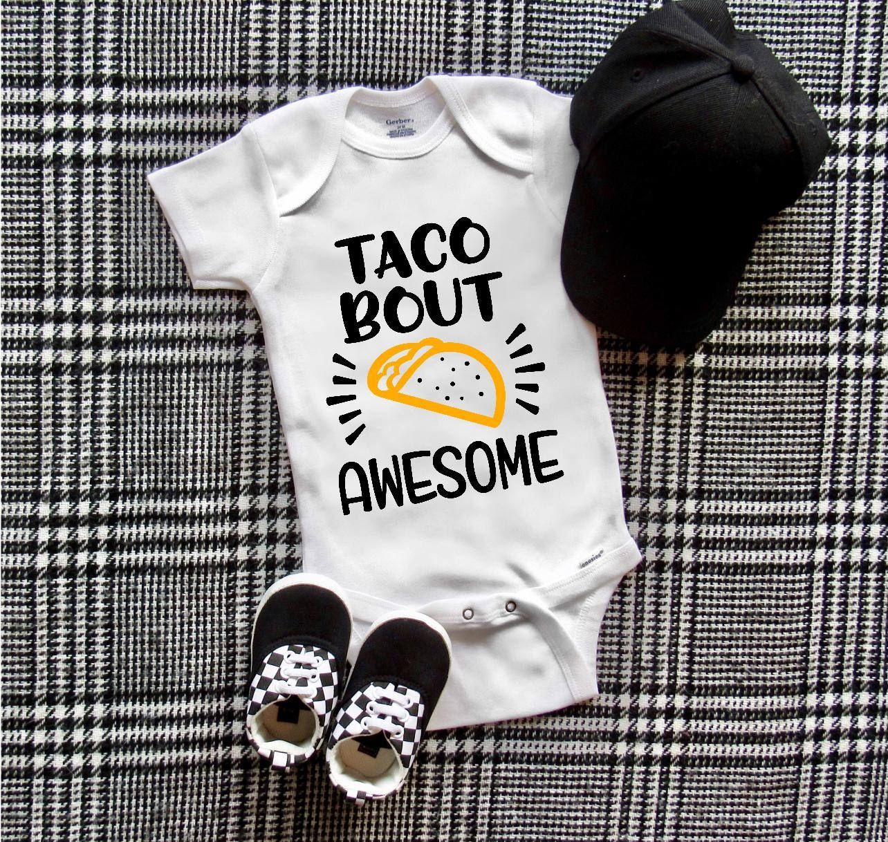 Lets Taco About It Onesie Infant Baby Shower Onesie Boy Girl Unisex