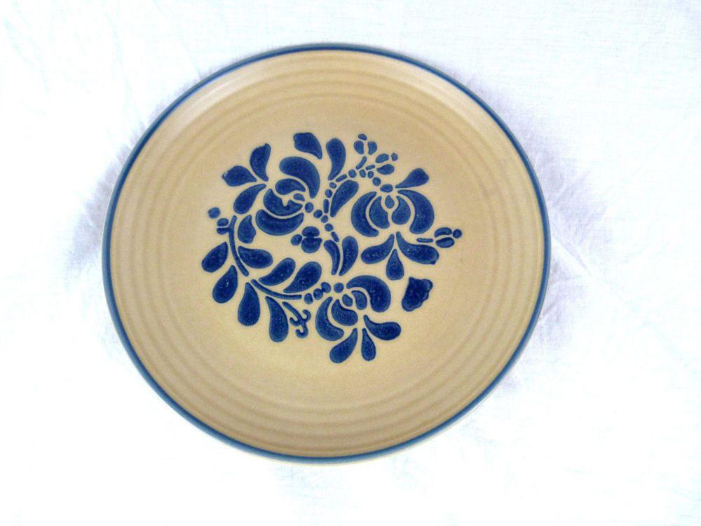 """Pfaltzgraff Folk Art USA Blue Beige 10 """" Dinner Plate Stonewear Retired #Pfaltzgraff"""