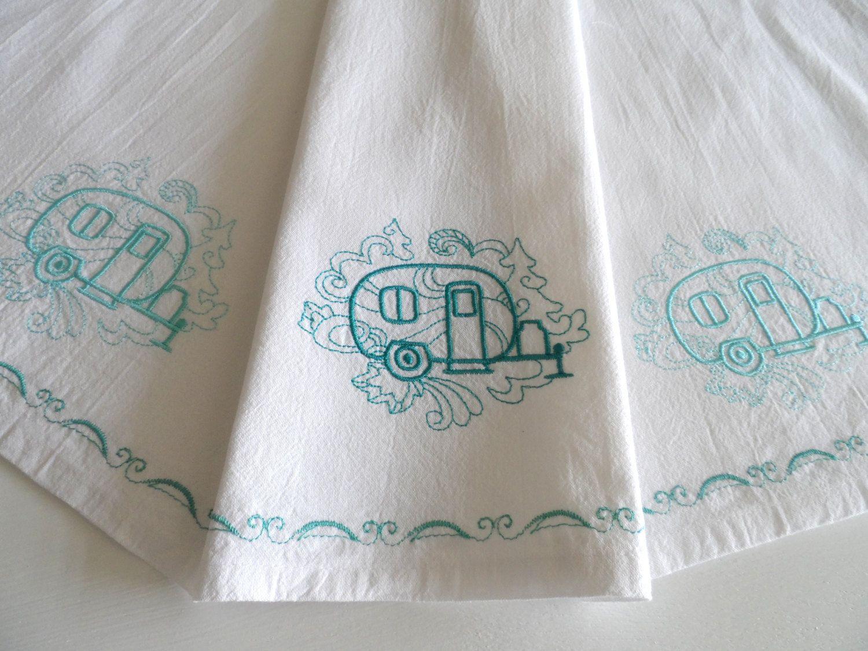 Vintage trailer flour sack towel, machine embroidered, retro camper ...