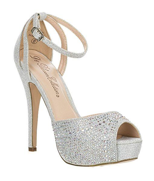 6318e498ebb Blossom Womens Vice-126 Bridal Formal Evening Party Ankle Strap High Heel  Peep Toe Glitter Sandal