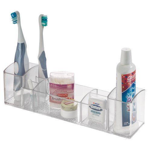 "InterDesign Med+ Storage Box Organizer for Vitamins, Medicine, Medical, Dental Supplies, 12"" Long, Clear"