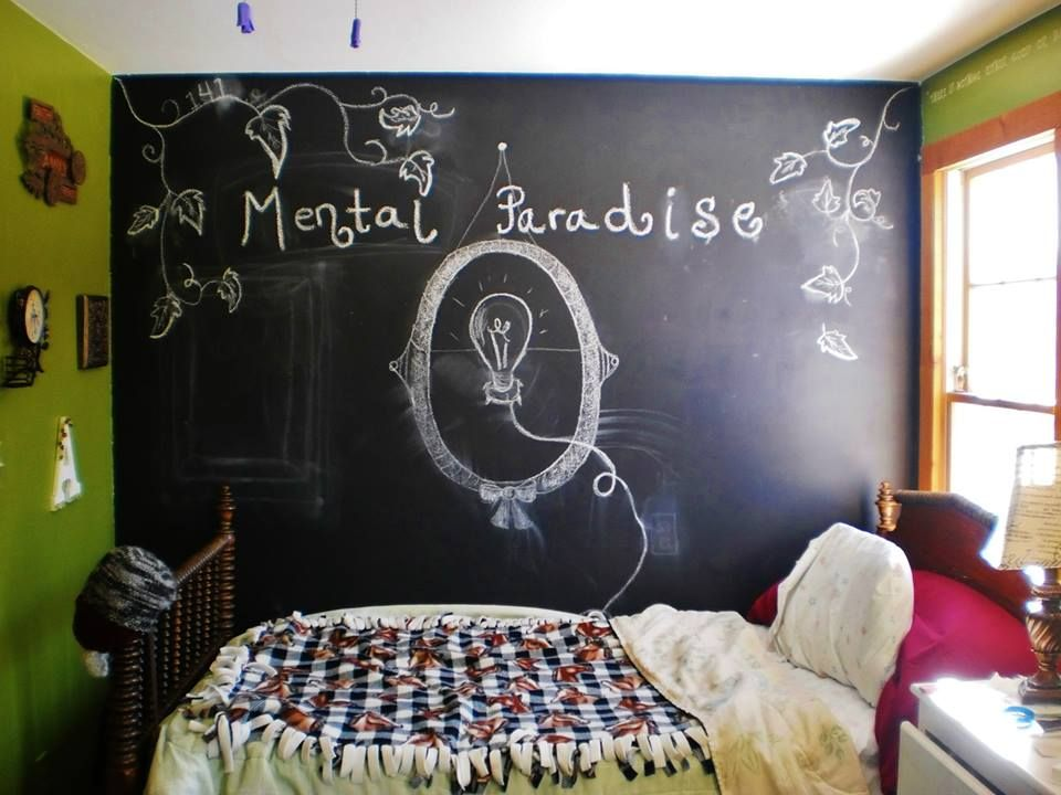A fun and creative bedroom complete with insightful quotes