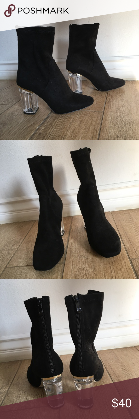 Public Desire Black Suede Boots Clear Block Heel Preloved