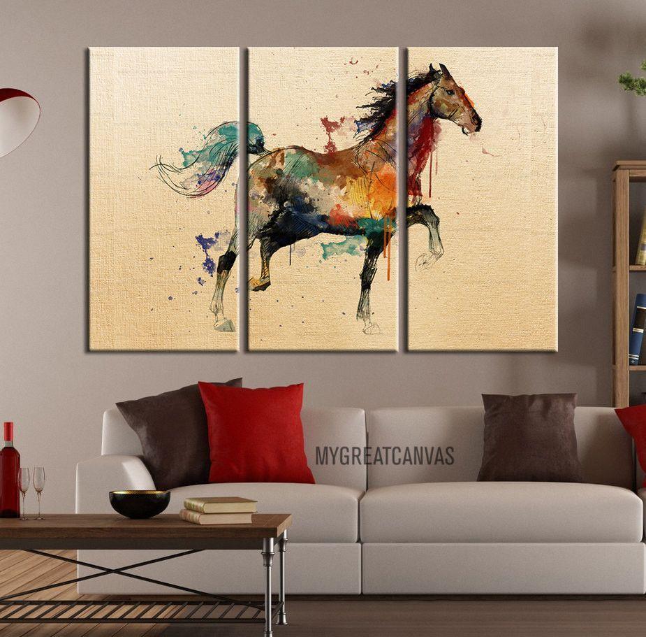 Large Wall Art Canvas Print Arabic Horse Drawing - Watercolor Horse ...