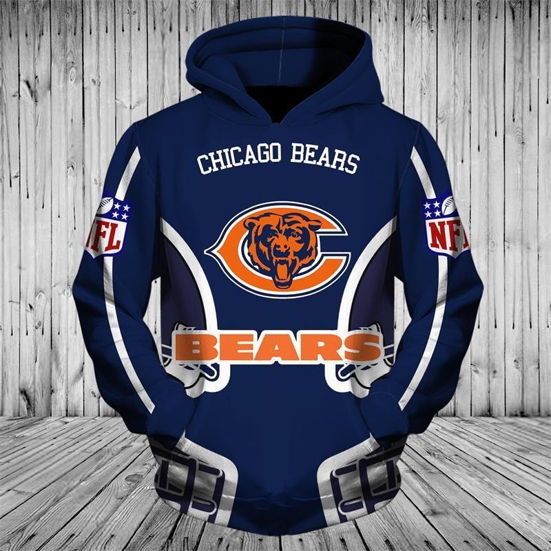 brand new 30a1b 59bd6 Cheap Price NFL Football Chicago Bears 3D Full Zip up Hoodie ...