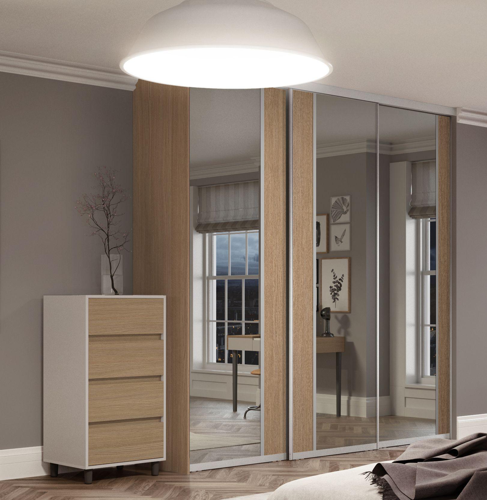 Premium Midi vertical split panel sliding wardrobe doors in Mirror