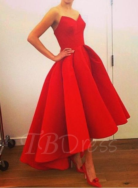 Asymmetrical Red Dress Tea Length
