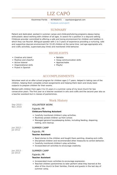 Volunteer Work Job Opportunity Prep Resume Examples