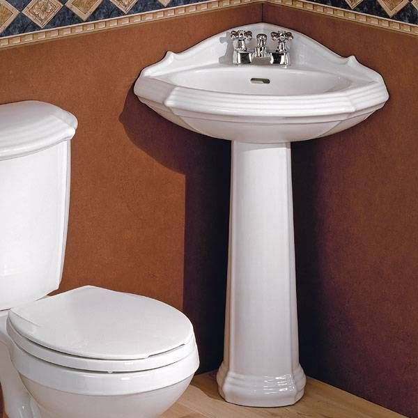 Shop Cheviot 930W Sheffield Corner Pedestal Sink White At The Cool Corner Sink For Small Bathroom 2018