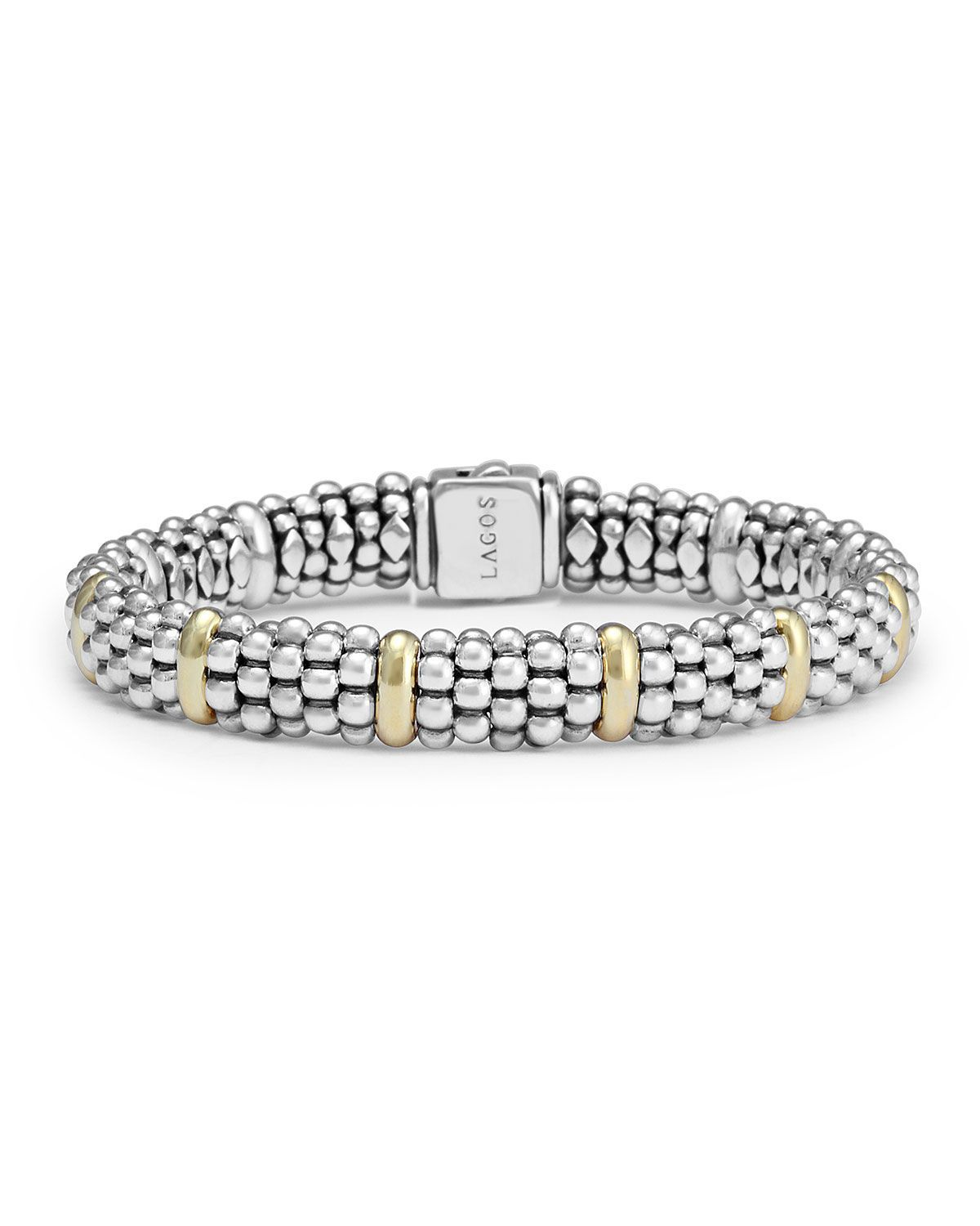 Sterling silver caviar rope bracelet with k gold products