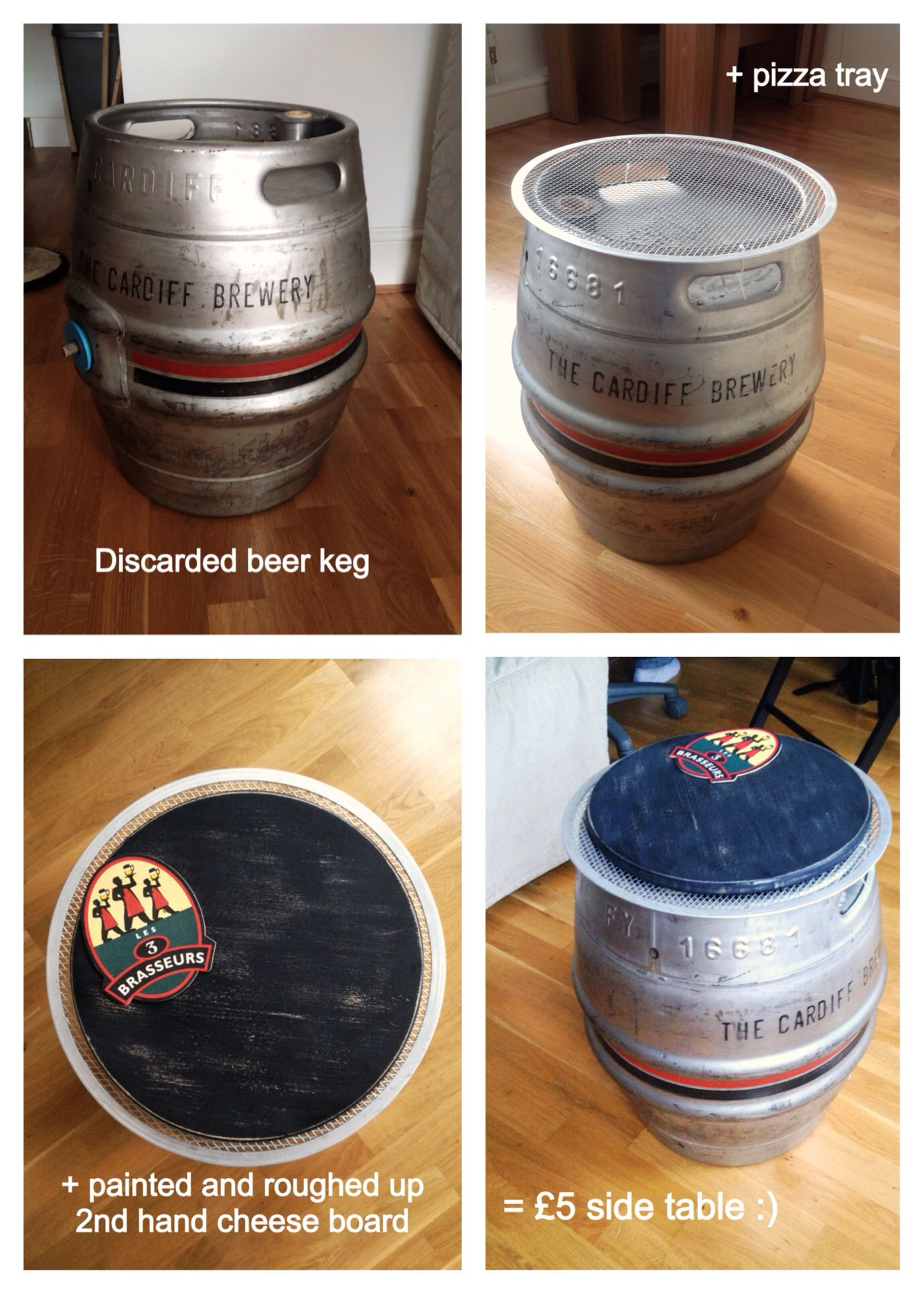 Upcycled Beer Keg Side Table