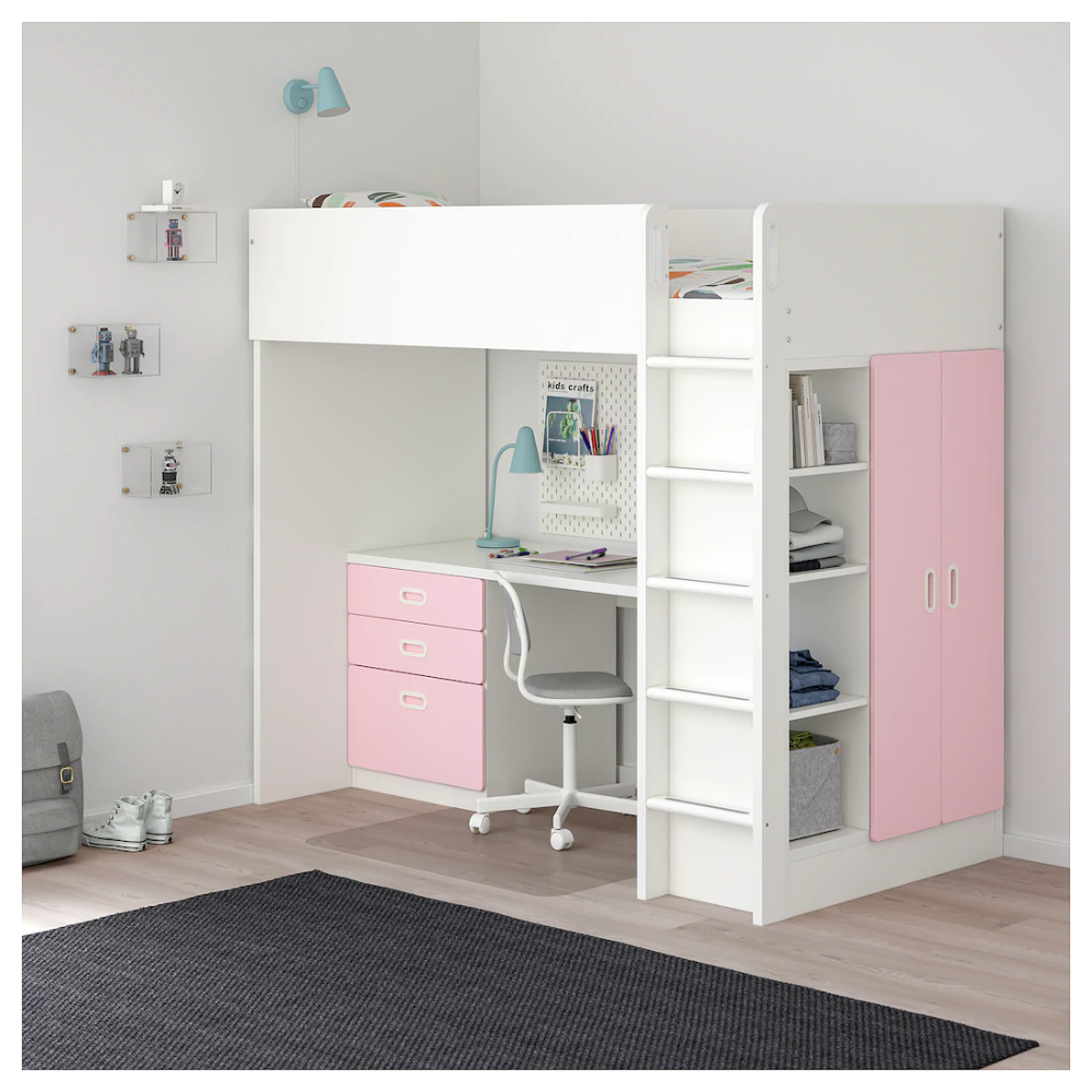 STUVA / FRITIDS white, light pink, Loft bed combo w 3