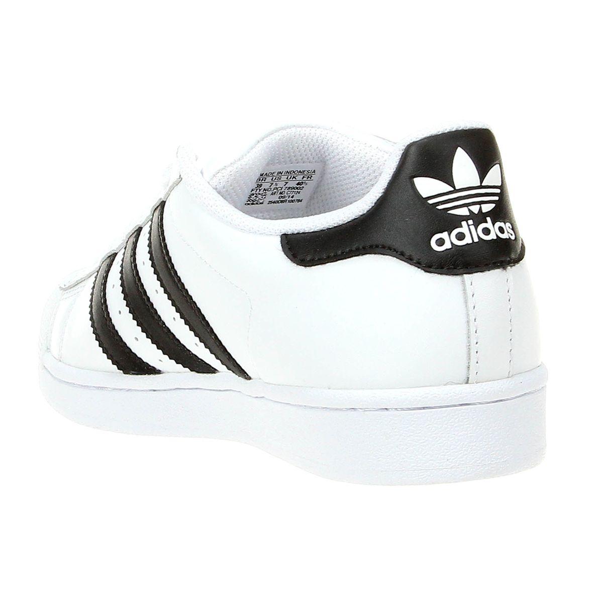 6301d791716 Tênis Couro Adidas Superstar Foundation Masculino - Branco e Preto ...