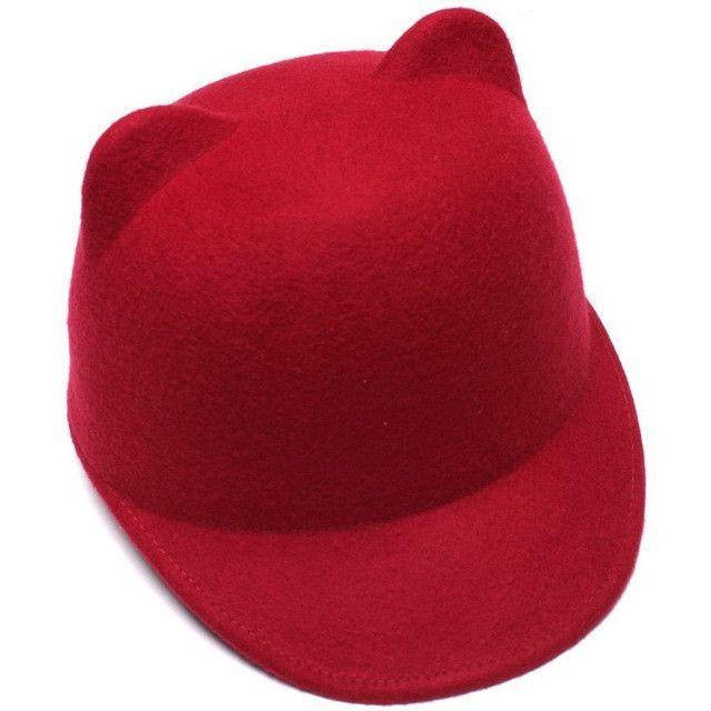 100% Wool Girls Fedora Hat Winter Black Devil Horns Cute Cat ear ... 93abda5bf760