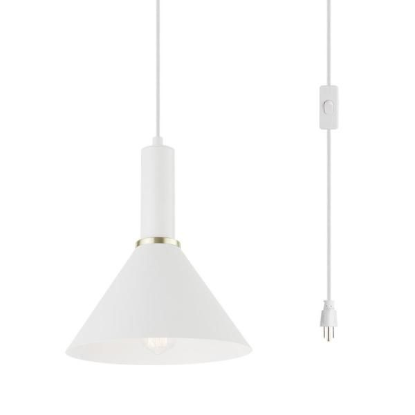 Novogratz X Globe Electric 1 Light Matte White Plug In Pendant Light 60761 In 2020 Plug In Pendant Light Pendant Lighting Bedroom Pendant Lighting