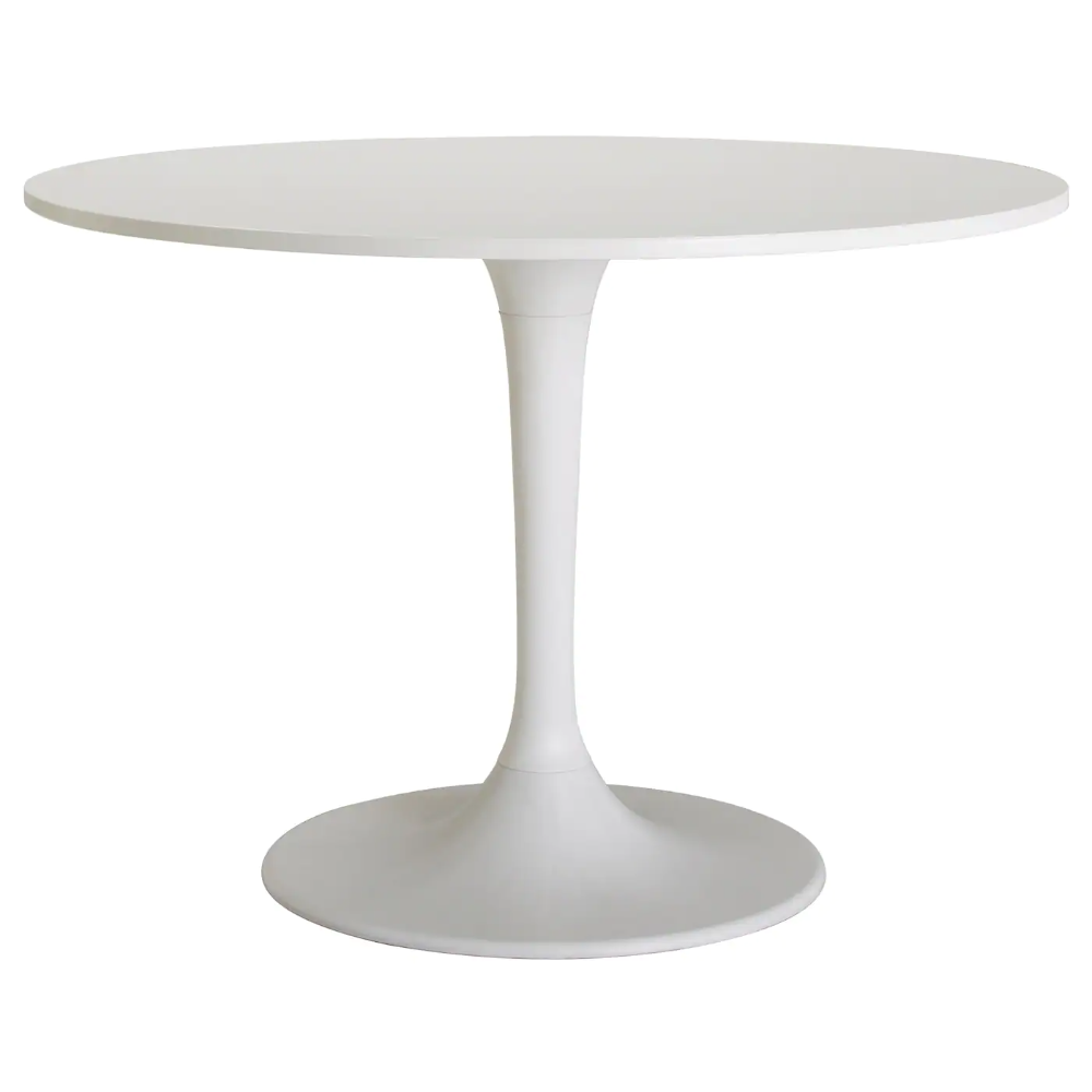 Ikea Docksta Table White A Round Table With Soft Edges Gives A Relaxed Impression In A Room We Have Tested It White Round Tables Round Table Dining Table