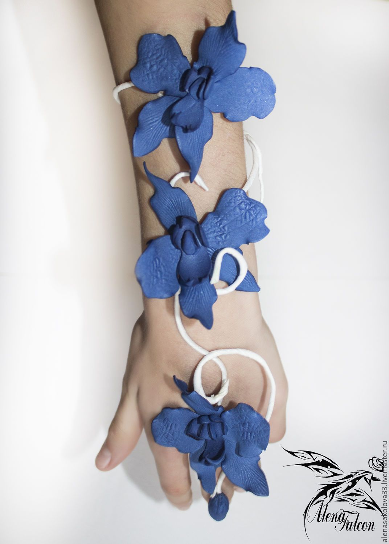"""Купить Браслет на руку """"Синяя орхидея"""" - тёмно-синий, браслет на руку, купить браслет"""