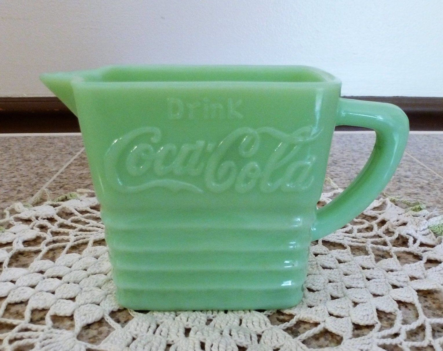 Double wall coffee cup likewise vintage pyrex clear glass refrigerator - Vintage Drink Coca Cola Jadeite Jadite Small Pitcher Creamer Hard To Find