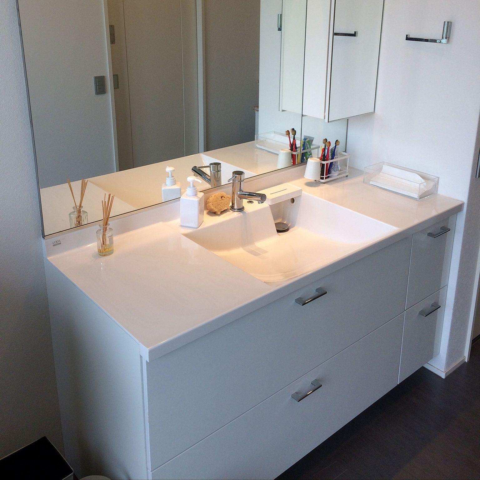 バス トイレ ルミシス洗面台 リクシルの洗面台のインテリア実例 2018 03 12 08 39 02 Roomclip ルームクリップ 洗面台 リクシル 現代的なバスルーム